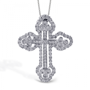 18K GOLD WHITE LP4075-S CROSS PENDANT