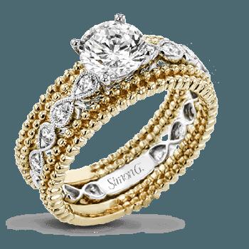 18K TWO TONE GOLD, WITH WHITE DIAMONDS. LR2601 - WEDDING SET