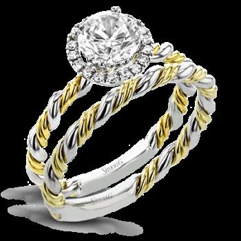 18K YELLOW & WHITE GOLD, WITH WHITE DIAMONDS. LR2790 - WEDDING SET