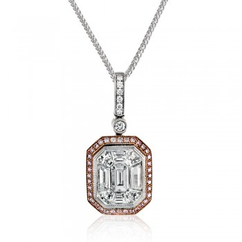 18k white and rose gold Pendant .08D .15PD 2.00MOSAIC