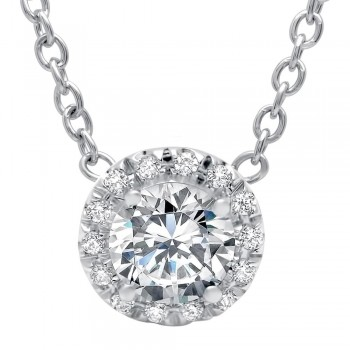 Round Brilliant Cut Diamond with Diamond Halo on Chain