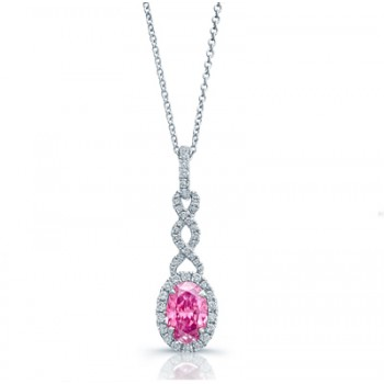 OVAL PINK DIAMOND WITH HALO AND ETERNAL KNOT PENDANT