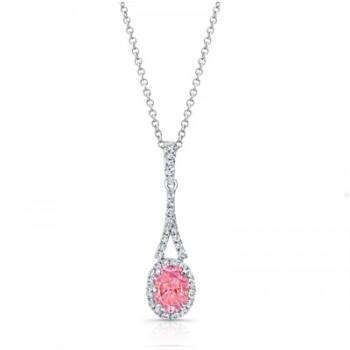 OVAL PINK DIAMOND WITH HALO PENDANT
