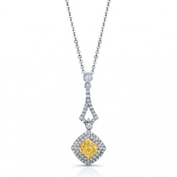 Cushion Shape Yellow Diamond with Double Halo