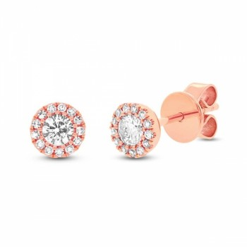 14k Rose Gold Diamond Studs with Halo