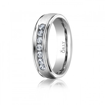 6.5mm Oval Polished Finish Partial Diamond Comfort Fit Band