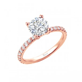 Round Brilliant Cut Diamond in Elegance Setting Rose Gold 1.28 carats tw