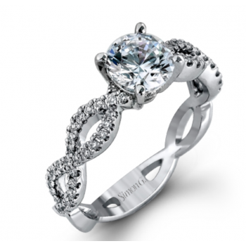 18K White Gold Infinity Style Engagement Ring
