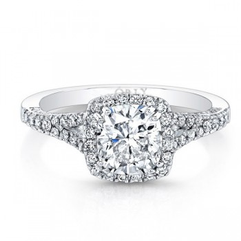 14K White Gold Round Brilliant Cut Diamond with Halo & Split Shank 1.21 carats tw