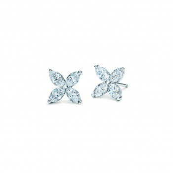 14K White Gold Marquise Diamond Stud Earrings