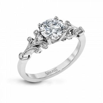 18k white gold engagement ring .13D