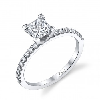 Princess Cut Diamond with Diamonds Shank .77 carats tw