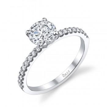 Round Brilliant Cut Diamond in Elegance Setting 1.37 carats tw