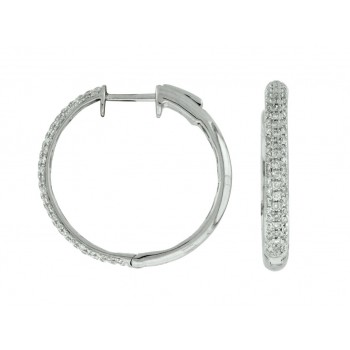 14K White Gold Pave' Diamond Hoop Earrings
