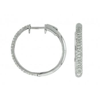 14K White Gold Pave' Diamond Hoop Earrings